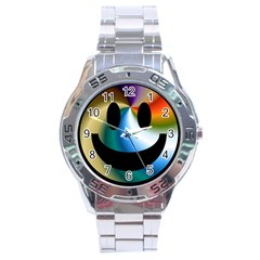 Simple Smiley In Color Stainless Steel Analogue Watch