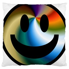 Simple Smiley In Color Large Cushion Case (two Sides)