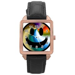 Simple Smiley In Color Rose Gold Leather Watch