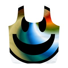 Simple Smiley In Color Full Print Recycle Bags (L)