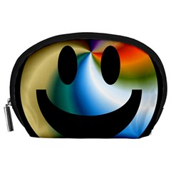 Simple Smiley In Color Accessory Pouches (large)