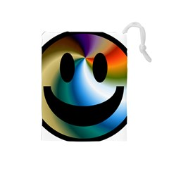 Simple Smiley In Color Drawstring Pouches (medium)