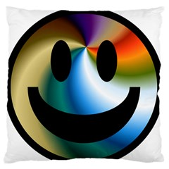 Simple Smiley In Color Large Flano Cushion Case (two Sides)