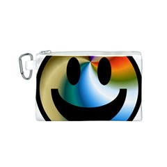 Simple Smiley In Color Canvas Cosmetic Bag (S)