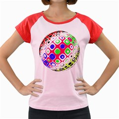 Color Ball Sphere With Color Dots Women s Cap Sleeve T-Shirt