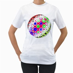 Color Ball Sphere With Color Dots Women s T-Shirt (White) (Two Sided)