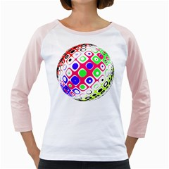 Color Ball Sphere With Color Dots Girly Raglans