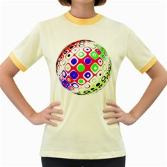 Color Ball Sphere With Color Dots Women s Fitted Ringer T-Shirts
