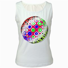 Color Ball Sphere With Color Dots Women s White Tank Top