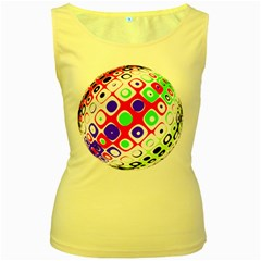 Color Ball Sphere With Color Dots Women s Yellow Tank Top
