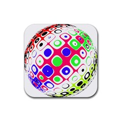 Color Ball Sphere With Color Dots Rubber Coaster (square)