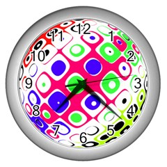 Color Ball Sphere With Color Dots Wall Clocks (Silver)