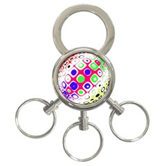Color Ball Sphere With Color Dots 3 Ring Key Chains