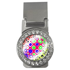 Color Ball Sphere With Color Dots Money Clips (CZ)