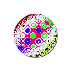 Color Ball Sphere With Color Dots Rubber Round Coaster (4 Pack)