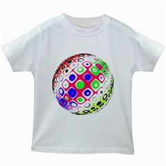 Color Ball Sphere With Color Dots Kids White T Shirts