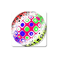 Color Ball Sphere With Color Dots Square Magnet