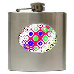 Color Ball Sphere With Color Dots Hip Flask (6 oz)