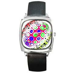 Color Ball Sphere With Color Dots Square Metal Watch