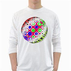Color Ball Sphere With Color Dots White Long Sleeve T-Shirts