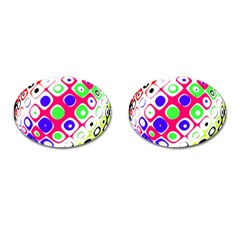 Color Ball Sphere With Color Dots Cufflinks (oval)
