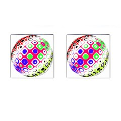 Color Ball Sphere With Color Dots Cufflinks (square)