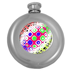 Color Ball Sphere With Color Dots Round Hip Flask (5 oz)