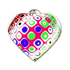 Color Ball Sphere With Color Dots Dog Tag Heart (one Side)