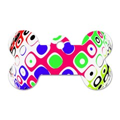 Color Ball Sphere With Color Dots Dog Tag Bone (one Side)