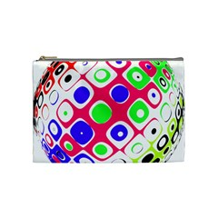 Color Ball Sphere With Color Dots Cosmetic Bag (Medium)
