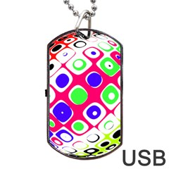 Color Ball Sphere With Color Dots Dog Tag Usb Flash (one Side)