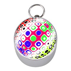 Color Ball Sphere With Color Dots Mini Silver Compasses