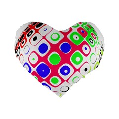 Color Ball Sphere With Color Dots Standard 16  Premium Flano Heart Shape Cushions