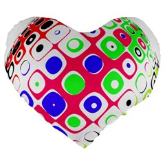 Color Ball Sphere With Color Dots Large 19  Premium Flano Heart Shape Cushions