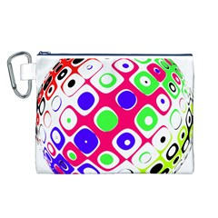 Color Ball Sphere With Color Dots Canvas Cosmetic Bag (l)