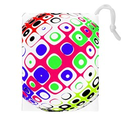 Color Ball Sphere With Color Dots Drawstring Pouches (XXL)