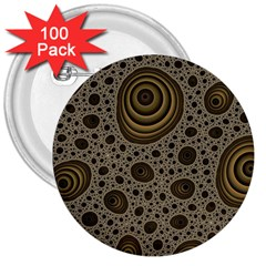 White Vintage Frame With Sepia Targets 3  Buttons (100 Pack)