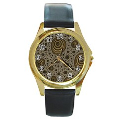 White Vintage Frame With Sepia Targets Round Gold Metal Watch