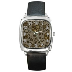 White Vintage Frame With Sepia Targets Square Metal Watch