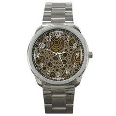 White Vintage Frame With Sepia Targets Sport Metal Watch