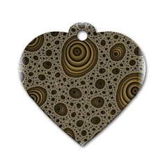 White Vintage Frame With Sepia Targets Dog Tag Heart (two Sides)