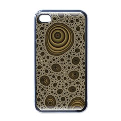 White Vintage Frame With Sepia Targets Apple iPhone 4 Case (Black)