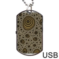 White Vintage Frame With Sepia Targets Dog Tag USB Flash (One Side)