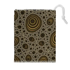 White Vintage Frame With Sepia Targets Drawstring Pouches (Extra Large)