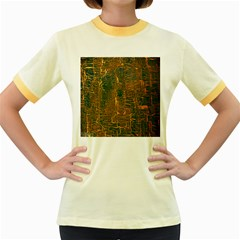 Black And Yellow Color Women s Fitted Ringer T Shirts
