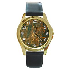 Black And Yellow Color Round Gold Metal Watch