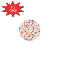 Happy Birds Seamless Pattern Animal Birds Pattern 1  Mini Buttons (10 Pack)