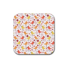 Happy Birds Seamless Pattern Animal Birds Pattern Rubber Coaster (Square)