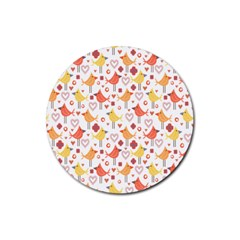 Happy Birds Seamless Pattern Animal Birds Pattern Rubber Coaster (round)