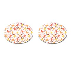 Happy Birds Seamless Pattern Animal Birds Pattern Cufflinks (oval)